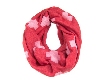 Swiss Cross Infinity Scarf - Hand Printed Sweatshirt Fleece Circle Scarf in Heather Red and White Q