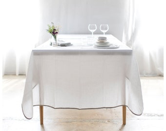 Tablecloth With Oatmeal Bias - White linen table cloth with natural edges - square and rectangle shape - Free Shipping to USA