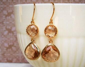 Blush Earrings, Champagne Glass Earrings, Gold Earrings, Bridesmaid Earrings, Wedding Jewelry