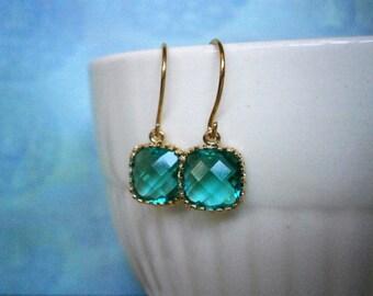 Teal Earrings, Petite Earrings, Gold Earrings, Wife Gift, Best Friend Gift, Sister Gift, Bridesmaid Earrings, Holiday Gift