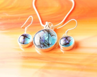 Handmade Dichroic Sterling Silver .925 Fused Glass Pendant Necklace Earrrings ...matching set...