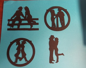 Cowgirl and cowboy Die Cuts,8 cowgirl and cowboy Diecuts,Rodeo die cuts,cowgirl cowboy love