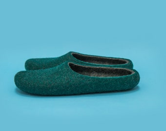 "Smoky Pine"" Hand felted wool slippers by Onstail"