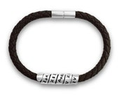 Personalised Life Story Secret Message Bracelet sterling silver and leather