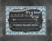 Digital Chalkboard Chevron Blue Baby Boy Shower Party Invitation Printable