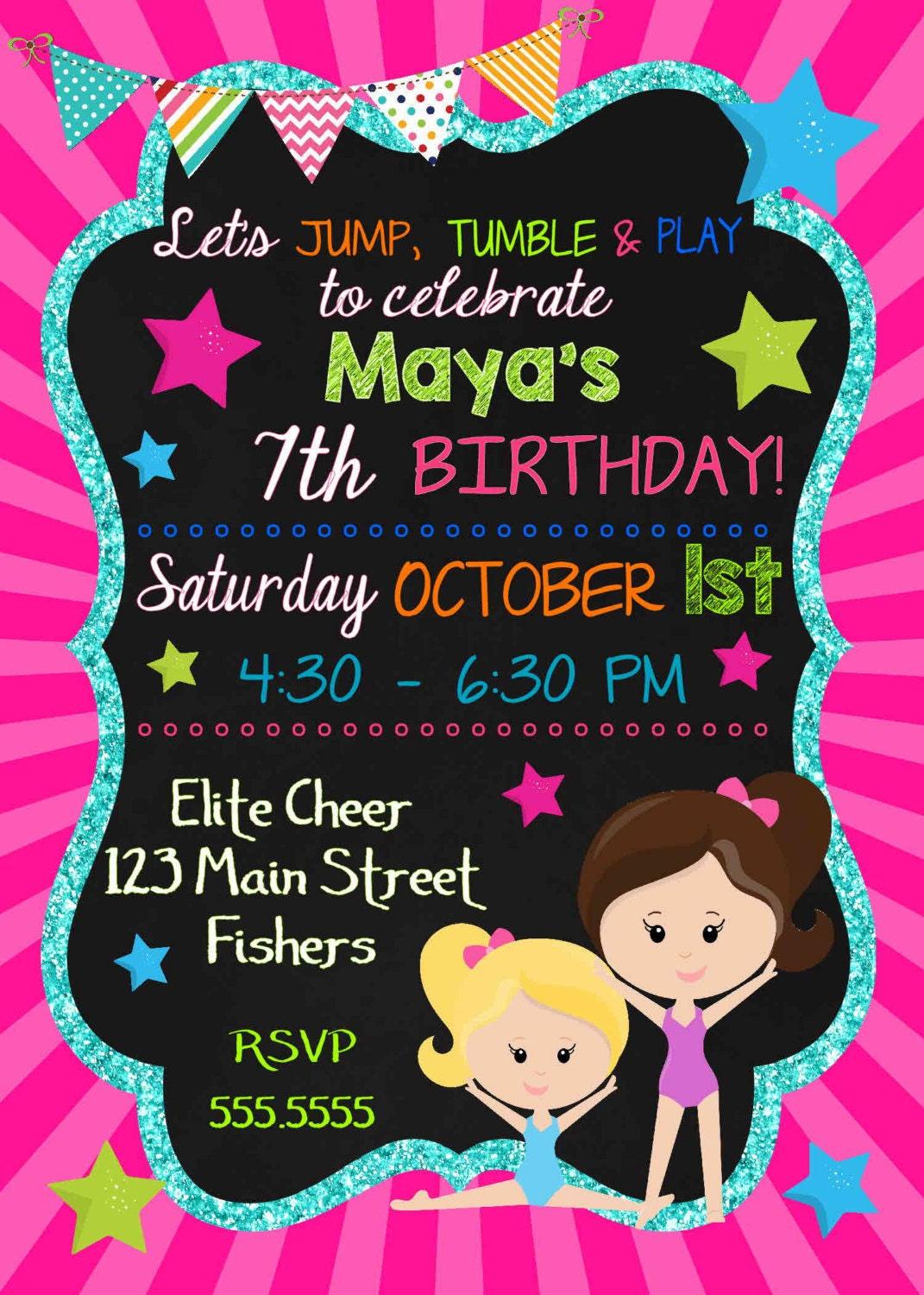 DIGITAL Gymastics Tumbling Glitter & Chalkboard Girls Birthday Girl ...