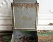 Vintage Metal Tin Match Safe Rusty chippy silver paint