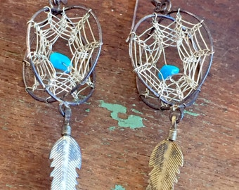 Vintage Native American Dream Catcher Earrings Sterling Turquoise 3D Style Southwestern