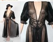 Vintage 60s Chiffon Babydoll Nightie / 1960s Dress Robe Lingerie Boudoir / Sheer / Midnight Black Cloud Negligee Peignoir / Noir Nightgown