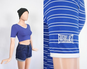 Vintage Iconic 90s Everlast Crop Top / 1990s Middriff Sporty Everlast Spandex Shirt / 80s Athletic Hip Hop Streetwear / Extra Small / Small