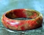 60mm Vintage Green and Red Jade Multi Color Bangle Bracelet