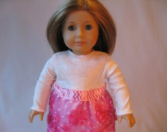 """Pink and White Holiday Tulle Long Sleeve Dress fits American Girl Doll 18"""" Doll Clothes Pink Polka Dot Flowers Chevron"""