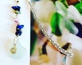 Aqua Irish Sea Glass Bookmark with Lapis Lazuli, Amethyst and Hematite Gemstones