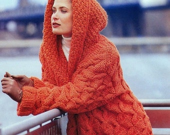 Vintage Knitting Pattern  Chunky Hooded Jacket Coat  Cable Moss Stitch  INSTANT DOWNLOAD PDF
