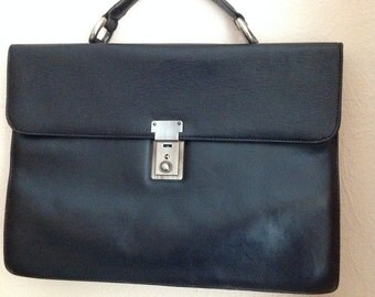 70s Picard Briefcase Black Leather Attache Satchel Tote Bag