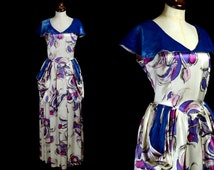 Original Vintage 1940s Printed Satin Evening Gown Dress  - Small - Sally Slade Label - FREE SHIPPING WORLDWIDE