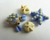 Starfish, Crab, and Sand Dollar Lampwork Bead Set - SRA