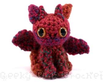 Dragon Amigurumi Crocheted Toy Plush Multicolor Rainbow Colorful OOAK