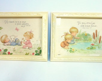 Pair of Vintage Pictures for Nursery or Child's Room, LIttle Girl and Boy Home Interiors Pictures. Psalm 23 and Psalm 104,