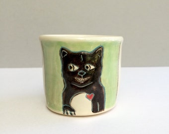 Ceramic Kitty Cup, Small, Black Cat and Rat on Green and White Ceramic Shot Glass or Shot Cup or Child's Cup, Bar Ware, Animal Pottery