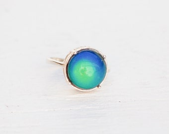 Mood RING Sterling Silver Adjustable 1970's Hippie Retro Bohemian Color Changing