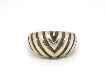 Geometric Sterling Silver Arrows Chevron Ring // one of a kind
