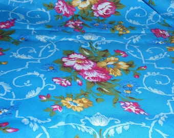 "Large 6 X 6 Blue Floral Design by  Jennifer Paganelli 100% Cotton 44"" Wide 1 Yard and 12"" Long"