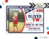 2nd Birthday Baseball Invite | Digital or Printed | Baseball Invitation | Rookie Year Invitation |  Rookie Invite | Baseball Party Invite