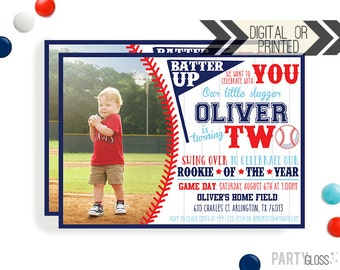 2nd Birthday Baseball Invite | Digital or Printed | Baseball Invitation | Rookie Year Invitation |  Rookie Invite | Baseball Party Invite