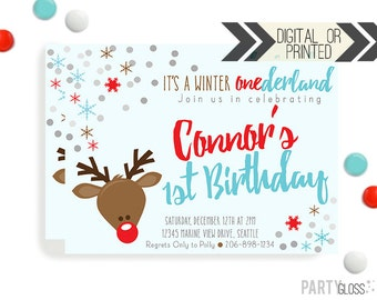 Reindeer Winter Birthday Invitation | Digital or Printed | Winter Wonderland Invitation | Reindeer Invitation | Red Aqua Birthday Invitation