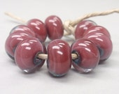Copper red encased with clear - 10 handmade lampwork beads