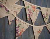 Vintage Tablecloth Bunting. Embroidered Bunting. Wedding Bunting. This embroidered strand is 3.8m long
