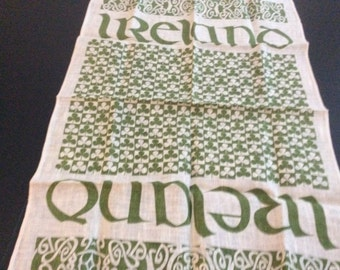 "Vintage Linen Hand Print Kitchen Towel, ""Old Dublin"" Made in Republic of Ireland"