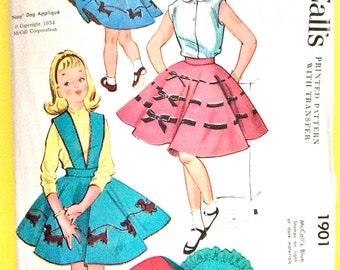 McCall 1901 1950s  Girls' Circular Skirt with Petticoat Vintage Sewing Pattern