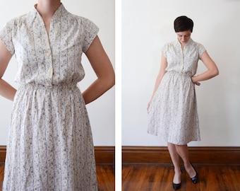 1970s Floral Shirtwaist Dress - S