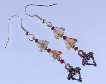 Flower dangle earrings, topaz bell flowers, silver plated hook earwires, accented with red and silver beads and art nouveau style dangles.