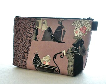 Ghastlies Fabric Large Cosmetic Bag Zipper Pouch Padded Makeup Bag Cotton Zip Pouch Alexander Henry Mauve Baby Buggy Pregnant Ghastlie  GRM