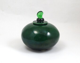 Coil built POT Handmade Pottery Ceramic Emerald Green