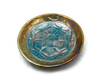 Dragonfly Bowl Handmade Ceramic Raku Pottery in Turquoise