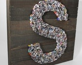 Rustic Recycled Magazine LETTER wall art- you choose your own letter, blue, green, red, purple, yellow, orange, colorful, alphabet, family