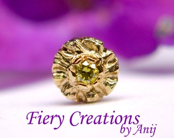 """Nose Screw / Tragus stud """"Flower from Ipanema """"  - 18k SOLID Yellow Gold with a 1.6mm Peridot colored Diamond, OOAK"""