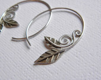 Sterling Silver Leaf and Scroll Hoop Earrings-Earthy and Rustic-Handcrafted-USA made