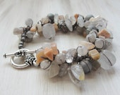 Chunky Gemstone Bracelet MOONBEAM Hand Knotted Beaded Statement, Moonstone Agate Quartz, Toggle Beach Oasis Rustic Festival by Heart in Hand