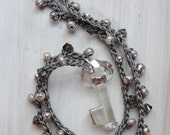 Beaded Crochet Charm Necklace MYSTIQUE Swarovski Crystal Key Pendant, Beach Jewelry Dreamer Mystery Locket by Heart in Hand Designs