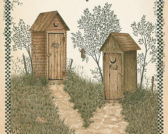 Bath Wall Decor,Primitive,Country Bath,Outhouse,His and Hers Outhouses,12x16,Linda Spivey