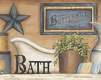Bath Wall Decor,Primitive Bath,Country Bath,18x9,Carrie Knoff