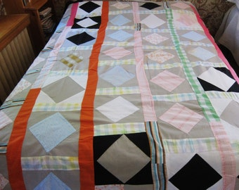 Vintage quilt top, 50s  60s patchwork, hand pieced quilt topper, vintage fabric, square in a square, boho bedding, hippie patchwork, rustic