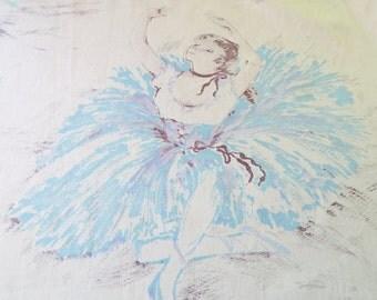 BALLERINA fabric, 1950s ballet cotton, faded vintage cotton, ballerina cotton panel, girls craft cotton, pastel ballet fabric
