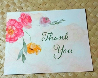 Thank You Card, Floral Thank You Card, Wedding Thank YouCard, Watercolor Flower Thank You Card, Party Thank You Card, Note Card