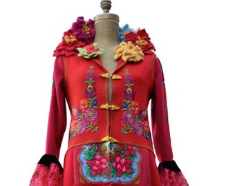 Custom Gypsy style COAT for NO. Embroidered boho Ethnic patchwork Clothing. Festival Wear